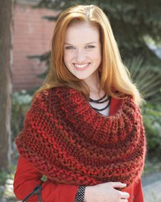 Thick textured rows keep you warm all through the winter in this quick and easy knit.