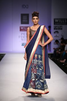 Printed Blue Saree #wifw #ss14 #fdci #fashion #trends #infashion #fashionweek #virtues #printed #blue