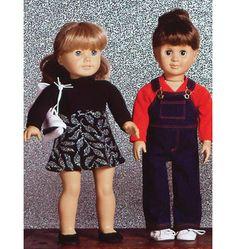 Dolls Clothes - Kwik Serge 2921 pattern dress, overalls, rain coat, baseball t-shirt and more