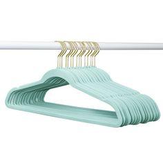 Project Tidy Eden Velvet Non-Slip Hanger Colour: Tiffany Blue/Gold White Hangers, Non Slip Hangers, Velvet Hangers, Kids Hangers, Baby Hangers, Plastic Hangers, My New Room, My Room, Tiffany Blue Bedroom