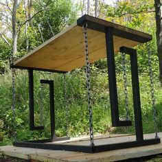 Welded Furniture, Steel Furniture, Industrial Furniture, Industrial Design, Woodworking Projects Plans, Diy Woodworking, Floating Table, Outdoor Furniture Plans, Diy Wood Projects
