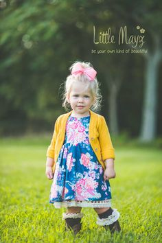 """""""Willow"""" Double Skirt V Back Dress months up to mustard cardigan sold separate. A fall staple for your fashionista Cute Fashion, Little Fashion, Baby Girl Fashion, Kids Fashion, Toddler Outfits, Kids Outfits, Summer Outfits, Mustard Cardigan, Boys And Girls Clothes"""