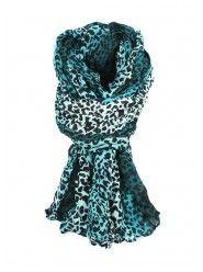 Dip Dyed Leopard Print Scarf In Teal  $12.00