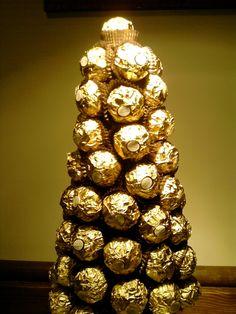 Ferrero Cone tree full of Ferrero Rocher sweets - yum!