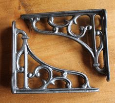 """Pair of PEWTER 4"""" SMALL ANTIQUE VINTAGE CAST IRON VICTORIAN SHELF BRACKETS BR04p in Antiques, Architectural Antiques, Hooks/ Brackets 