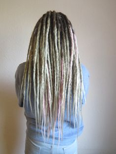 Natural dreadlocks extended with synthetic extensions13', with free ends, by AmeliDreads