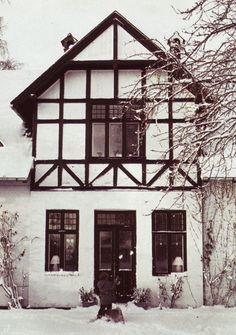 Tudor home in a winter wonderland.