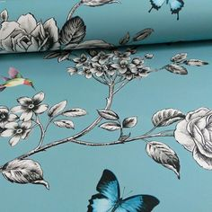 GRANDECO IDECO ROSE GARDEN BIRD BUTTERFLY PATTERN FLORAL MOTIF WALLPAPER TEAL in Home & Garden,Home Improvement,Building & Hardware | eBay