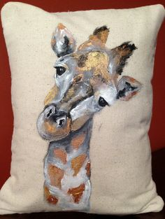 Copper Painted Giraffe pillow. Look at that sweet face!!