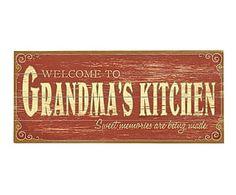 Cuadro en madera de pino Grandma Kitchen - 61x25,4 cm