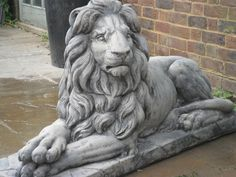 MASSIVE LAYING STONE LARGE LIONS GARDEN ORNAMENT STATUES