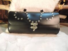 Motorcycle tool bag Sturdy Black leather Silver studs by RoundOakLeather on Etsy