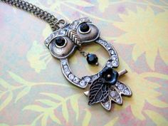 Owl Necklace  Rhinestone owl with flower by iceblues on Etsy, $22.00