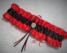 Red And Black Garter Bridal Wedding GarterKeepsake Set Ribbon