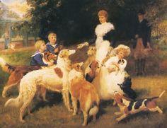 Collies Borzoi Foxhounds and Schippperke - Queen Alexandra With Grandchildren And Dogs 1902,