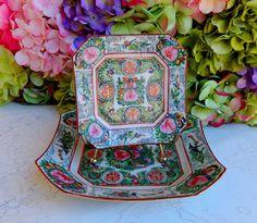 2 Vintage Chinese Rose Medallion Porcelain Plates