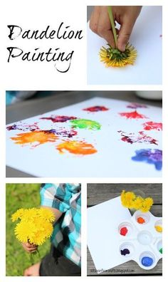Kitchen floor crafts: dandelion painting art projects for ki Craft Activities For Kids, Preschool Crafts, Toddler Activities, Projects For Kids, Diy For Kids, Preschool Painting, Summer Activities, Family Activities, Preschool Activities