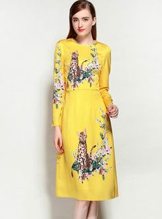 Yellow Cat Pattern Print Long Sleeve Skater Dress