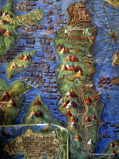 Beauty of old maps - Vatican Museums, Rome, Italy. Lazio