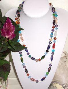 Collana lunga con vetro murano multicolore mezzi by Momentidoro, €120.00