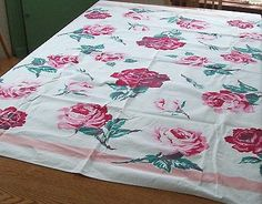 Vintage Tablecloth Huge Pink and Red Roses Over The Top Romance