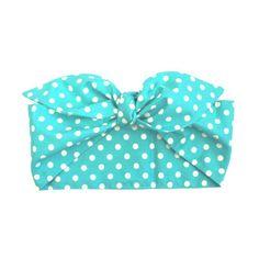Gas Axe Inc Turquoise Green Polka Dot Head Scarf Tie