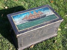 CLIPPER SHIP PAINTED TRUNK, Blanket Chest,circa 1860
