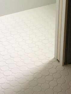 Dailtile Octagon And Dot Matte White Floor Tile With Laticrete Spectralock  #44 Bright White Grout