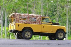Yellow land rover 109 Series.