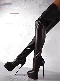 Black Sexy Boots Women Platform Stiletto Heel Thigh High Boots Plus Size Over The Knee Boots Black Heel Boots, Sexy Boots, High Heel Boots, Heeled Boots, Tight High Boots, Knee High Heels, Over The Knee Boots, Casual Heels, Casual Boots