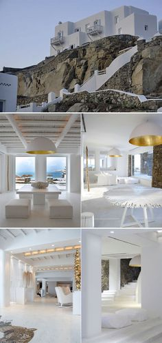 "Cavo Tagoo is a luxury hotel located on the ""Mykonos"" island, Greek. This Hotel gives a good service, quality, and comfort to the guests. Mykonos Hotels, Greece Hotels, Mykonos Greece, Mykonos Island, Style At Home, Urban Deco, Cavo Tagoo Mykonos, Mediterranean Architecture, Greek House"