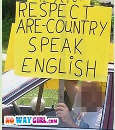 This sign says a LOT about his English...