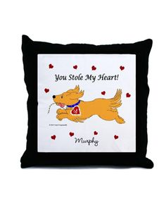 Stole My Heart Golden Retriever Pillow