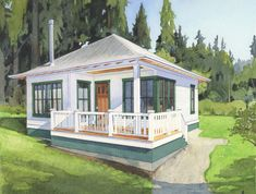 The Chestnut has a generous deck for views and large school house windows for small town charm. Cottage House Plans, Small House Plans, Cottage Homes, House Floor Plans, Small Cottage Plans, Farm House, Small Beach Cottages, Cabins And Cottages, Tiny Cabins