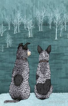 Australian Cattle Dogs, Blue Heelers (The Lookouts), by Artwork by AK by artworkbyak
