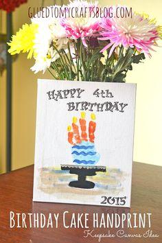 Birthday Cake Handprint- Kid Craft Keepsake Canvas Idea
