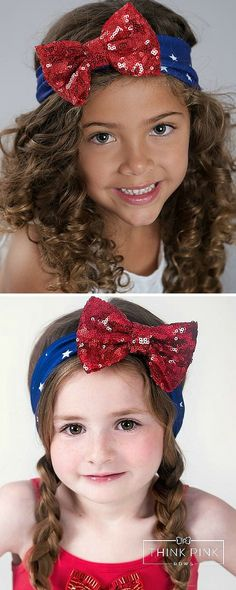 "Our headwrap is made of a soft and stretchy blue and white stars fabric that is perfect for any age. It is embellished with a red sparkly sequin bow that every little girl will love! It approx17"" in circumference ideal for ages 3 months and up. SHOP 4th of July headbands for kids and little girls fashion at http://thinkpinkbows.com/products/lady-liberty-red-sequin-bow-headwrap 