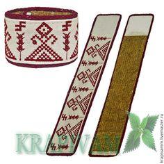 """Крапивный браслет со славянской символикой """"Макошь"""" - бордовый,крапива"""