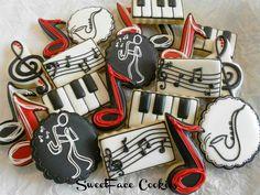 SugarFace Cookies Music Cookies, Cute Cookies, No Bake Cookies, Cupcake Cookies, Sugar Cookies, Cupcakes, Cookie Frosting, Royal Icing Cookies, Cookie Designs