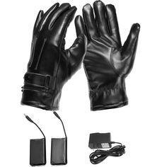 Leather Rechargeable Battery Electric Heated Hands Racing Winter Warmer Gloves