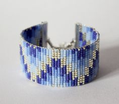 Bracelet tissé en perles miyuki / Perles argentées en plaquées Argent 925 / BLEU…