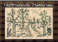 Northwoods Memories Autumn Path  Redwork by WellingtonHouseDesig, $2.50