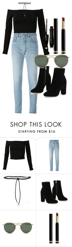 """""""Untitled #4407"""" by olivia-mr ❤ liked on Polyvore featuring RE/DONE, Aamaya by Priyanka, Ray-Ban, Gucci and Lancôme"""