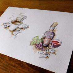 #illustration #watercolor #wine #grape #invinoveritas #coffee #cigarette #newspaper #zippo #morningritual #art #arts_help #theartslovers #freshart #baigart #artistic_support #instartpics #sketch_daily #juventudartista #art_worldly #artsanity #artist_sharing #art_empire #moanart #art_discover_  #artworksfever #arts_gate #instartpics #Art_iwork #artists_magazine #artaesthetics
