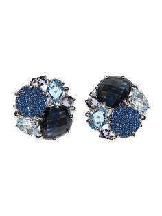Anzie - Bouquet Earrings - Button Studs - London Blue Topaz