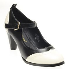 Spectator and Mary Jane in one. Me love. Chase & Chloe Womens DORA2 Round Toe Mary Janes Med High Heel Pumps, Black PU Leather, 7.5 B (M) US V-Luxury http://www.amazon.com/dp/B00K14W98G/ref=cm_sw_r_pi_dp_MSWKtb0MF42H2BHV