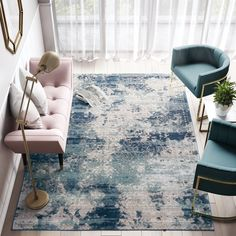 Shop for CosmoLiving Vintage Blue Meghan rug. Get free delivery On EVERYTHING* Overstock - Your Online Home Decor Store! Light Blue Area Rug, White Area Rug, Blue Area Rugs, Chesapeake House, Open Family Room, Blue Color Schemes, Natural Area Rugs, Transitional Rugs, Grey Rugs