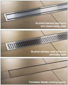 Kerdi Line from Schluter Systems - linear shower channel made of stainless steel or . Kerdi Line from Schluter Systems - linear shower channel made of stainless steel or . # shower channel # stainless steel I. Bathroom Interior, Modern Bathroom, Small Bathroom, Master Bathroom, Downstairs Bathroom, Bathroom Drain, Bathtub Tile, Bathroom Remodeling, Tile Shower Drain
