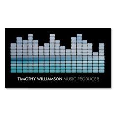 Blue Equalizer Musician, DJ, Band Business Card Template - full-color front and back printing. Easy to personalize and order.