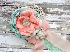 Peach Blossoms- Mint and Peach Satin Flower headband-Baby headband- Newborn headband- Infant headband- Toddler headband